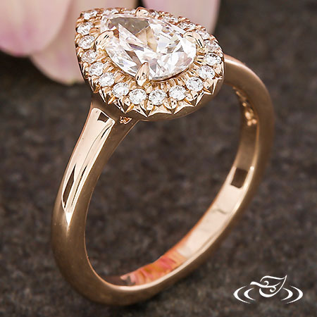 ROSE GOLD PEAR DIAMOND HALO ENGAGEMENT RING