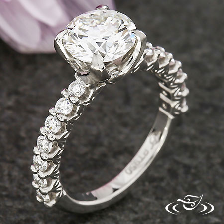 SWIRLING LEAF DIAMOND ENGAGEMENT RING