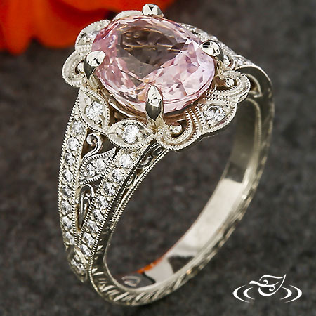PADPARADSCHA HALO ENGAGEMENT RING