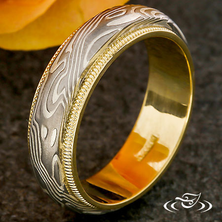 MOKUME BAND WITH GOLD MILIGRAIN RAILS