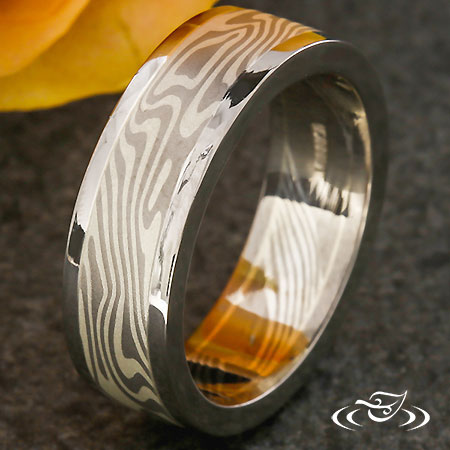 MOKUME BAND WITH POLISHED RAILS