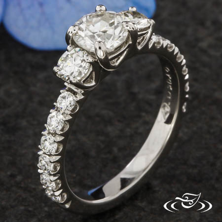 THREE STONE & FRENCH SET DIAMOND ENGAGEMENT RING