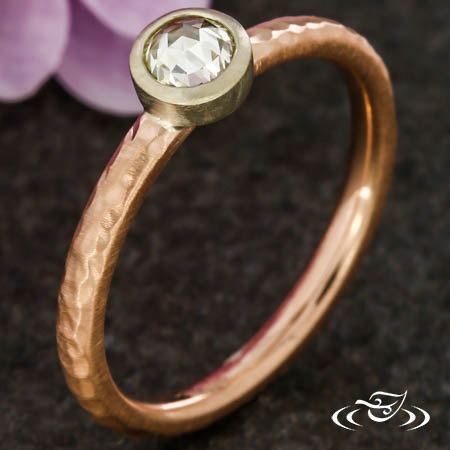 BEZEL SET STACKABLE RING WITH ROSE CUT DIAMOND