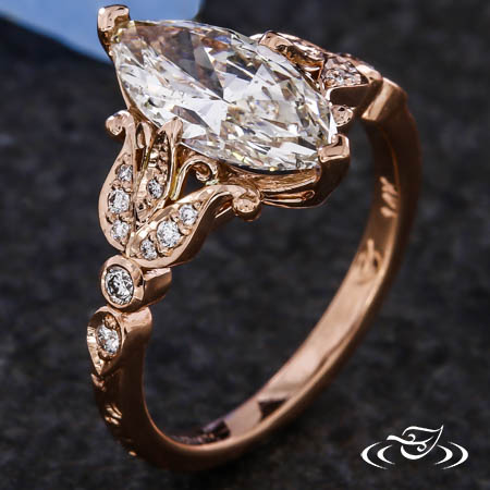 DIAMOND TULIP AND MARQUISE ENGAGEMENT RING