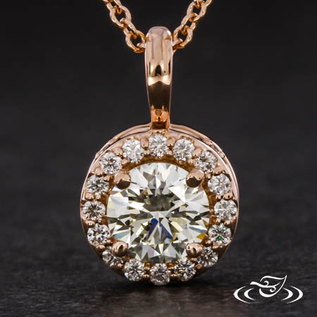 ROSE GOLD DIAMOND HALO PENDANT