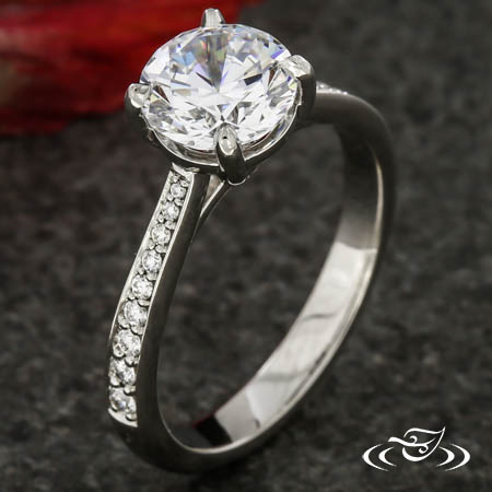PLATINUM REVERSE TAPER DIAMOND ENGAGEMENT RING