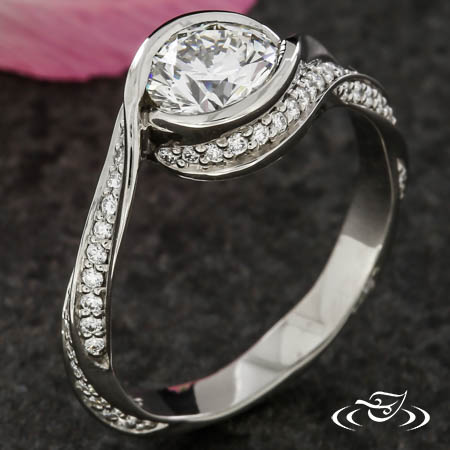PLATINUM TWIST BYPASS RING