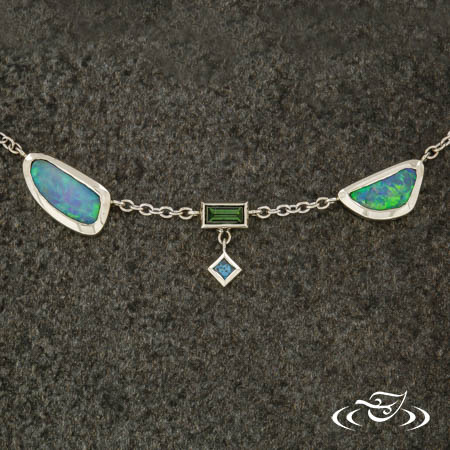 OPAL AND COLORED DIAMOND LAYERED NECKLACE