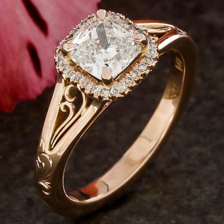FILIGREE ROSE GOLD CUSHION HALO ENGAGEMENT RING