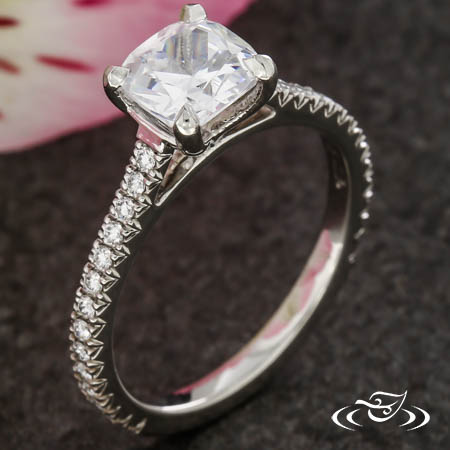 CUSHION DIAMOND ACCENT SOLITAIRE