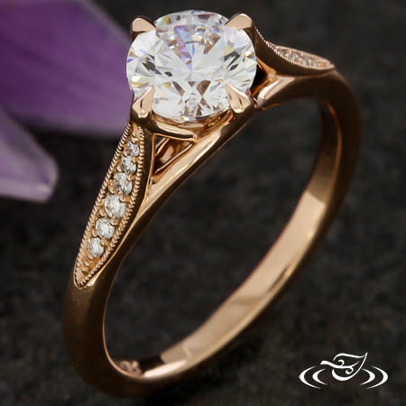 TRELLIS STYLE ACCENTED ENGAGEMENT RING