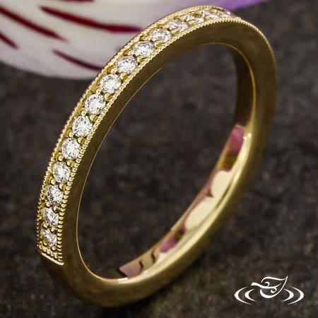 14K YELLOW GOLD BEAD SET DIAMOND BAND