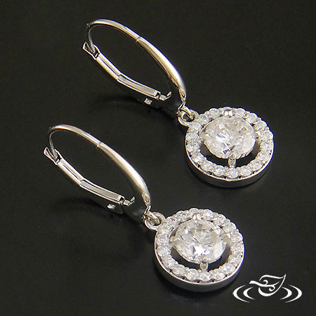 14K WHITE GOLD DIAMOND HALO DANGLE EARRINGS