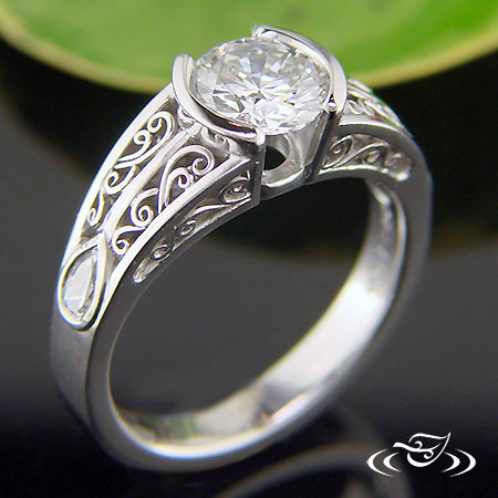 PLATINUM HALF BEZEL FILIGREE DIAMOND RING
