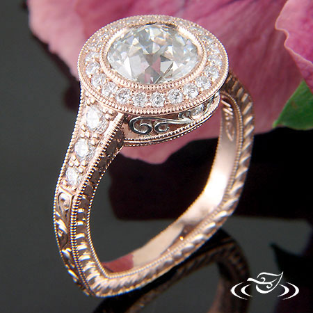 ROSE & PLATINUM HALO ENGAGEMENT RING