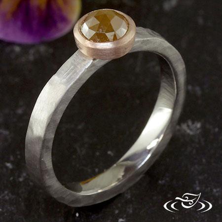 FULL BEZEL ROSE CUT DIAMOND RING WITH RUSTIC FINISH