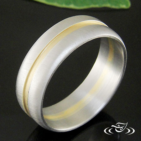 PALLADIUM AND 18K YELLOW GOLD BAND