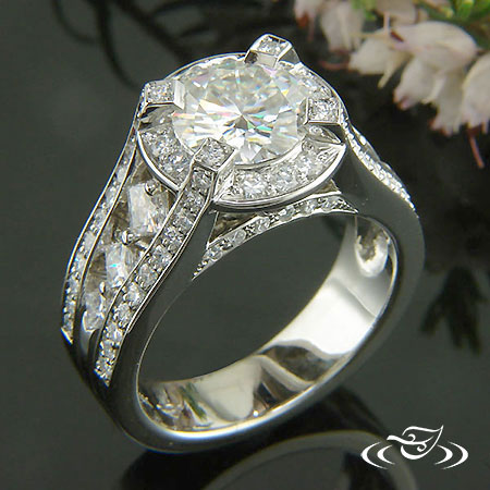 HALO RING WITH PRINCESS CUT ACCENTS