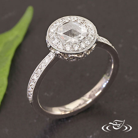 BEZEL ENGAGEMENT WITH ROSE CUT CENTER