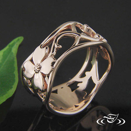 CUSTOM 14K ROSE GOLD DOGWOOD FLOWER BAND