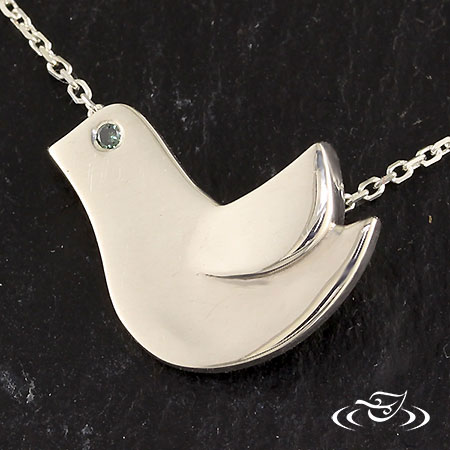 SILVER BIRD CHARM WITH INVISIBLE BAIL