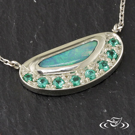 14K WHITE GOLD OPAL PENDANT WITH EMERALDS