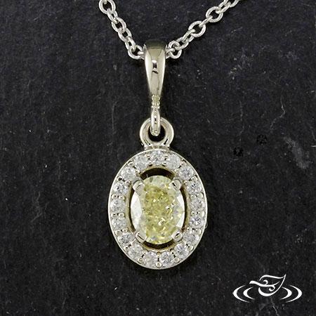 14K WHITE GOLD YELLOW DIAMOND HALO PENDANT