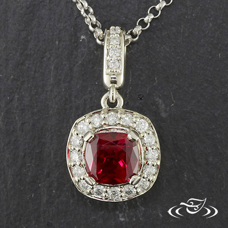 14K WHITE GOLD LAB RUBY AND DIAMOND PENDANTANT