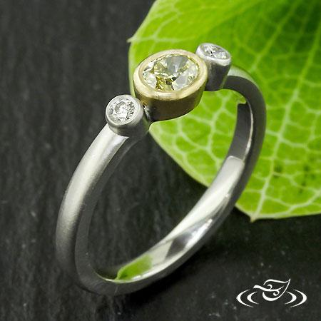 3 STONE BEZEL DIAMOND RING